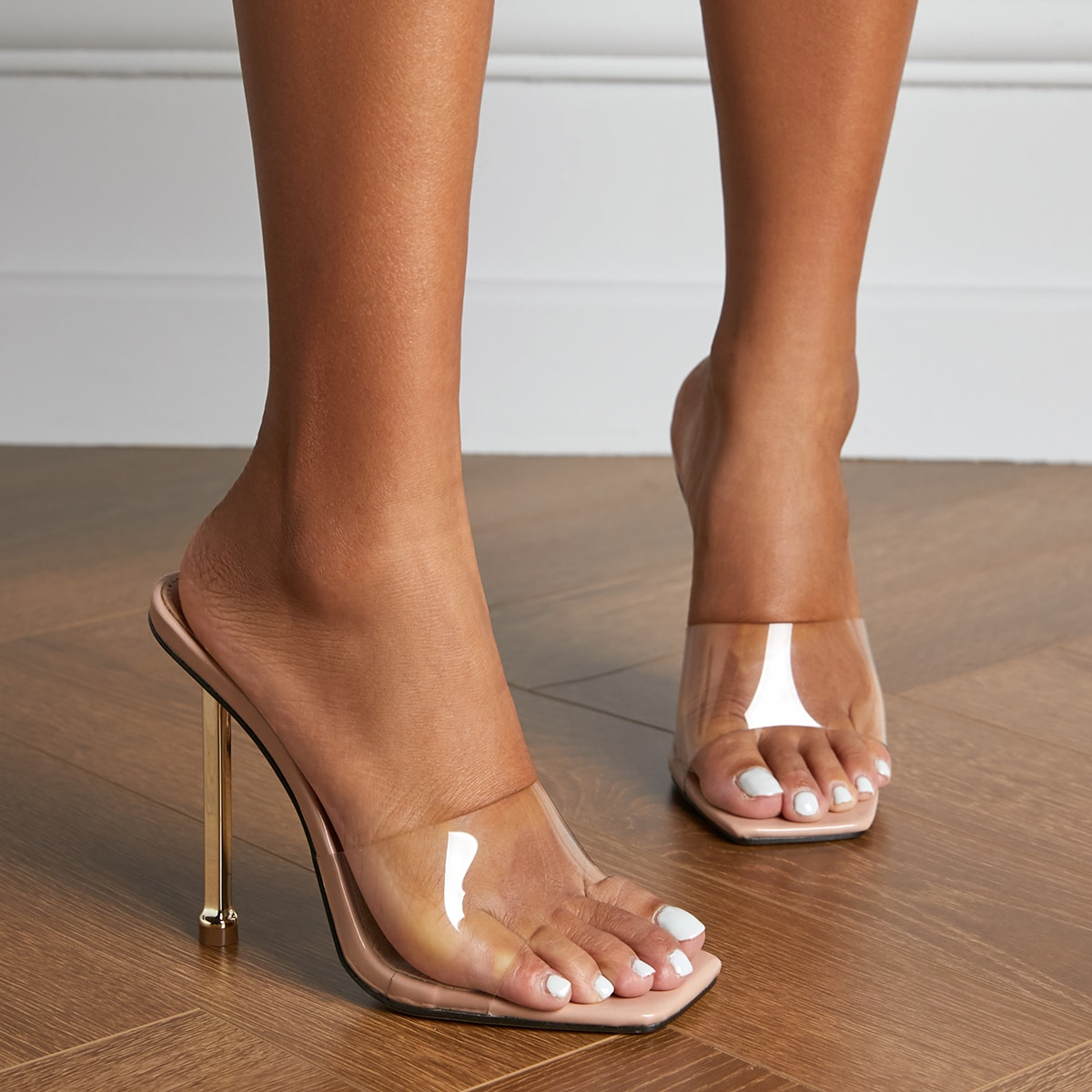 Clear Stiletto Heeled Mules, SHEIN  - buy with discount