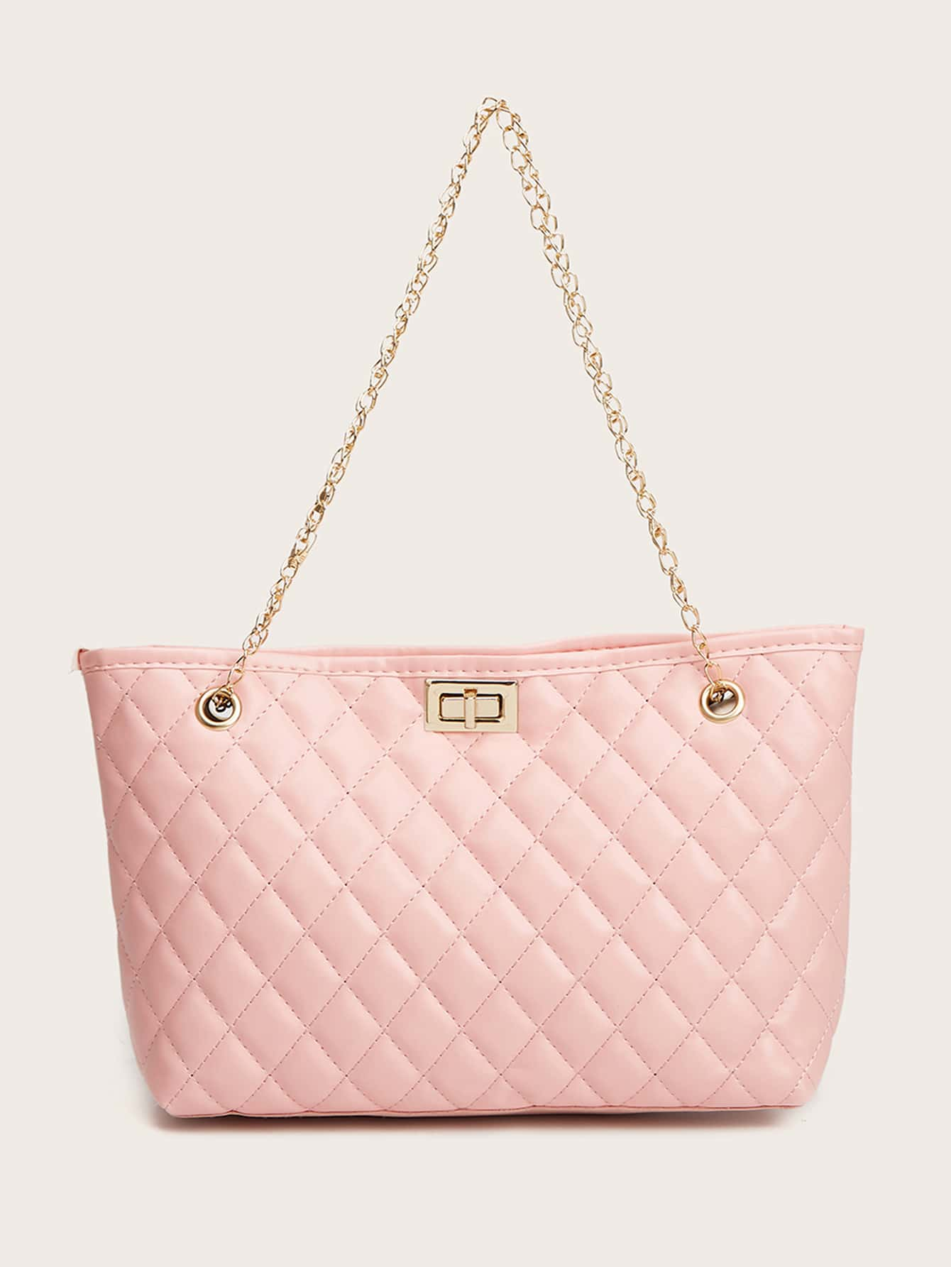 Quilted Twist Lock Chain Tote Bag thumbnail