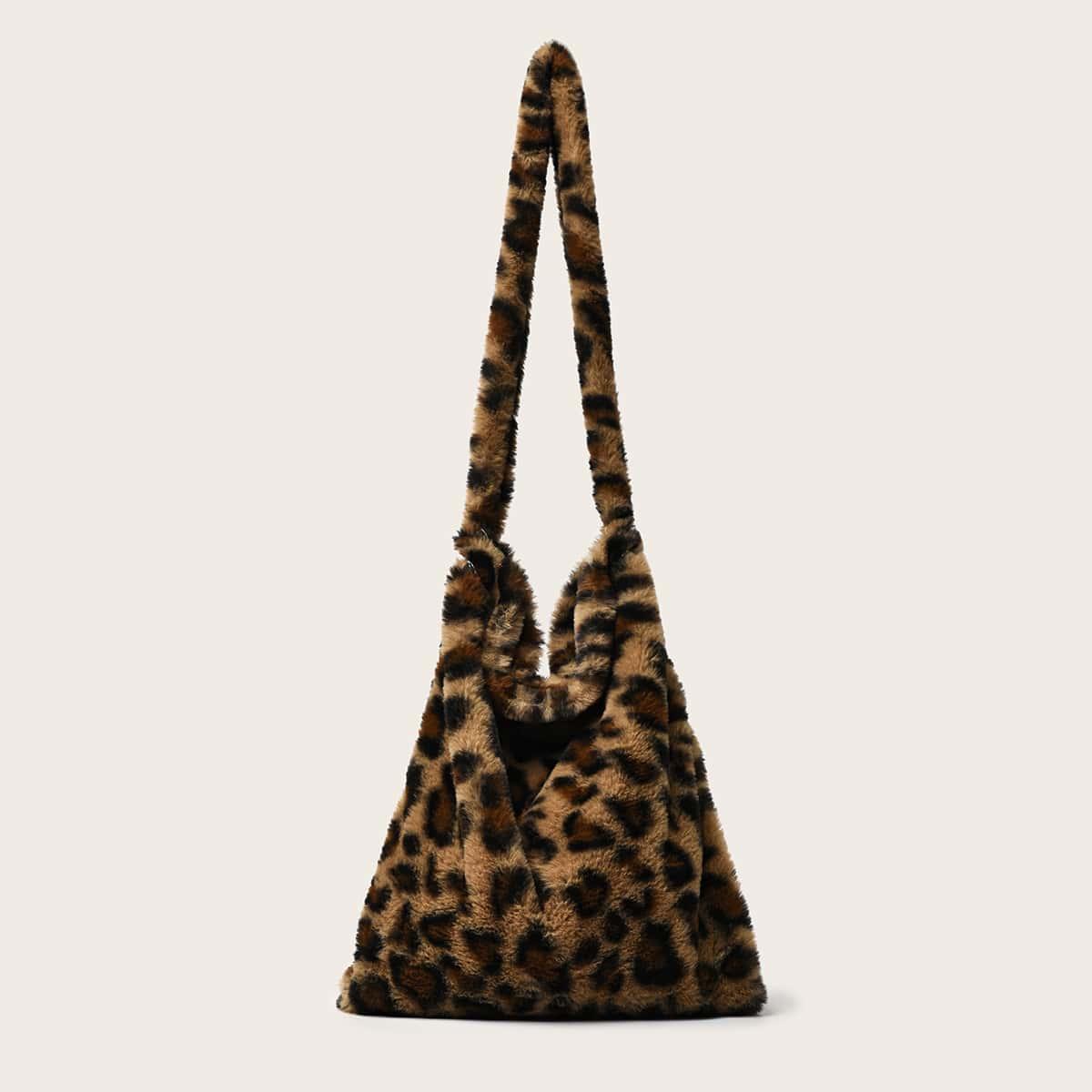 Плюшевая сумка-хобо с леопардовым принтом