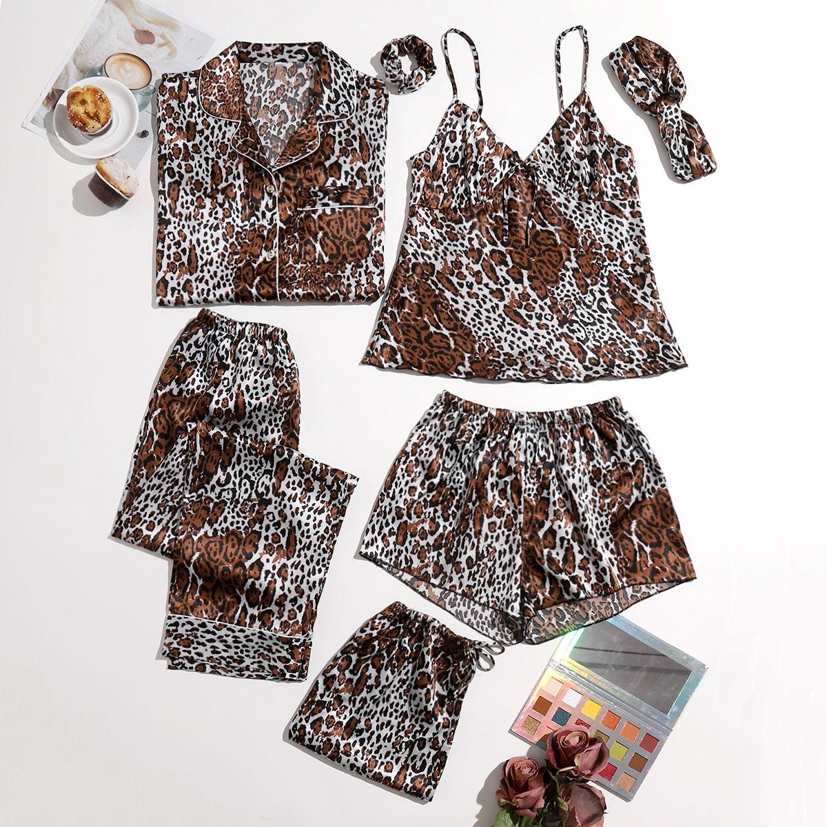 с карманами Леопардовый принт Минимализм Комплект пижамы