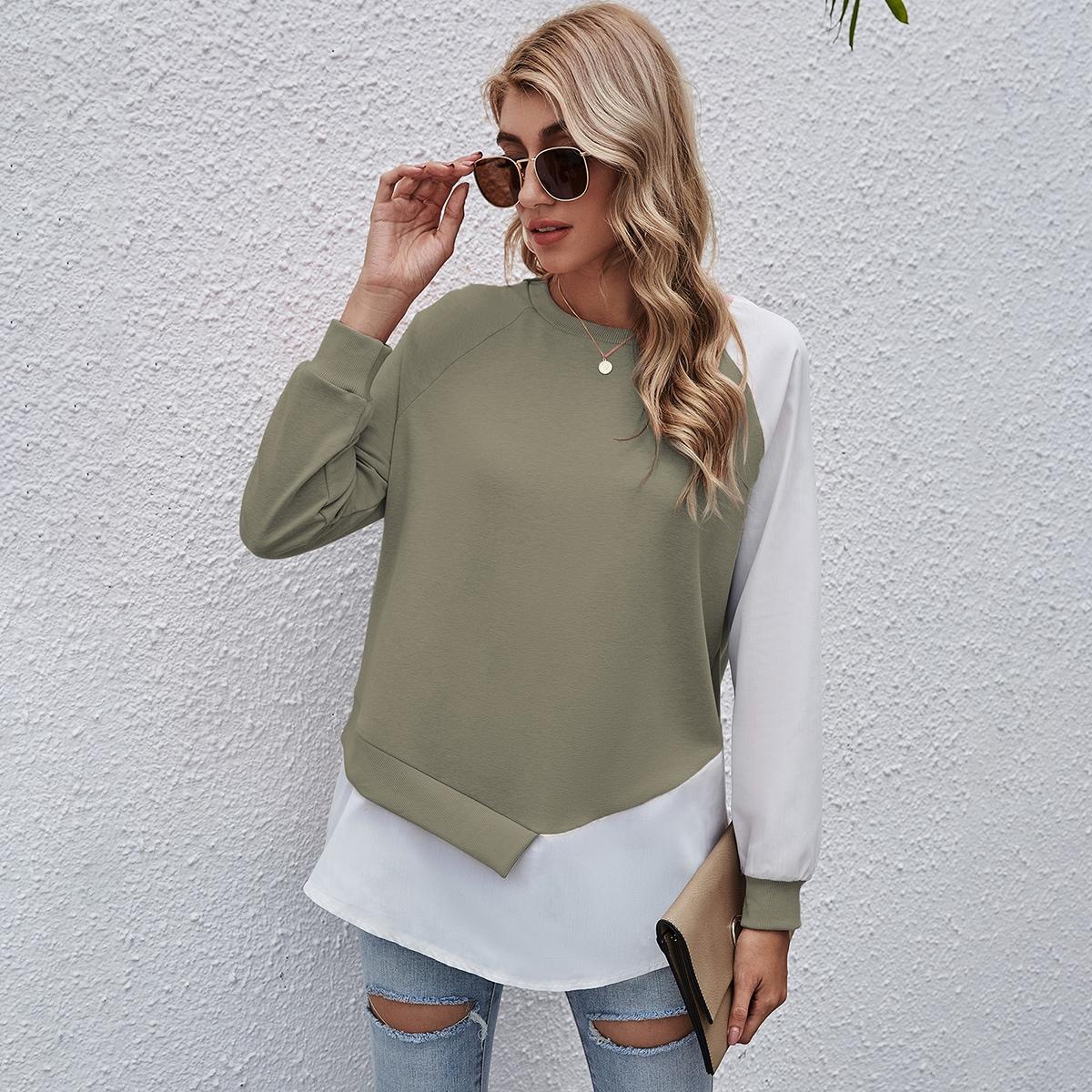 Контрастный пуловер с рукавом реглан