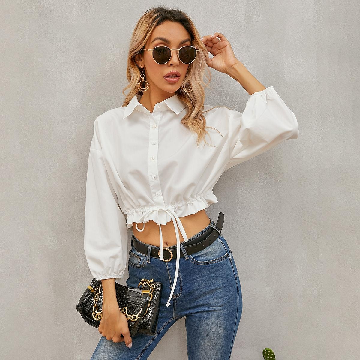Кроп блузка на кулиске