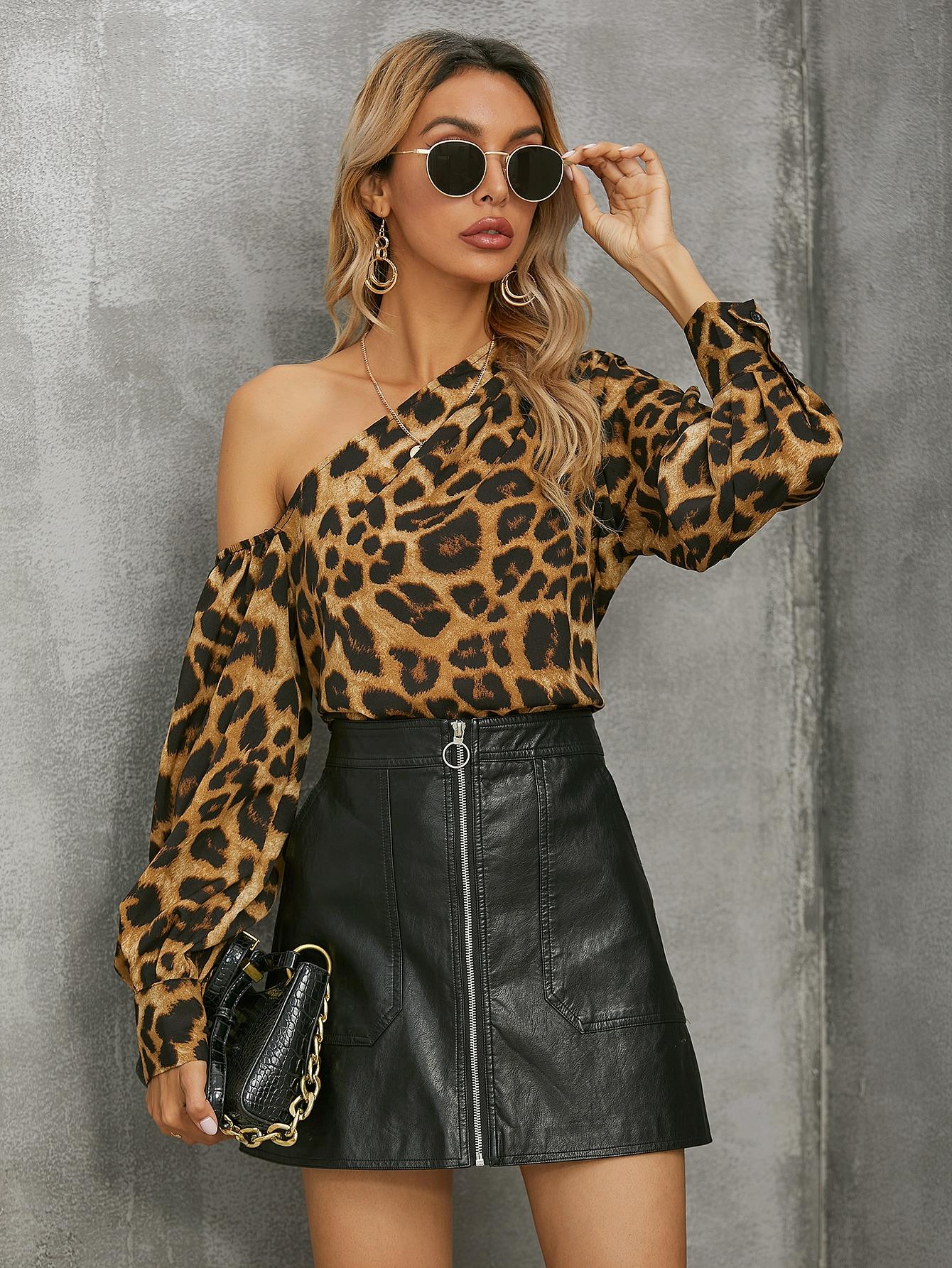 Asymmetrical Neck Leopard Top thumbnail