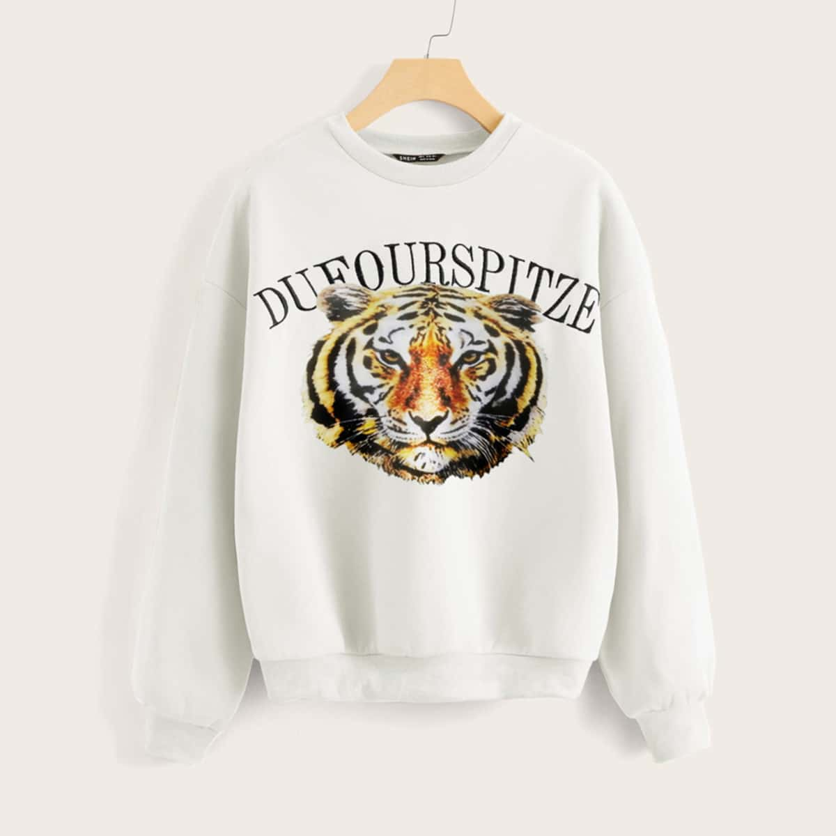SHEIN / Letter Embroidery Tiger Print Thermal Pullover