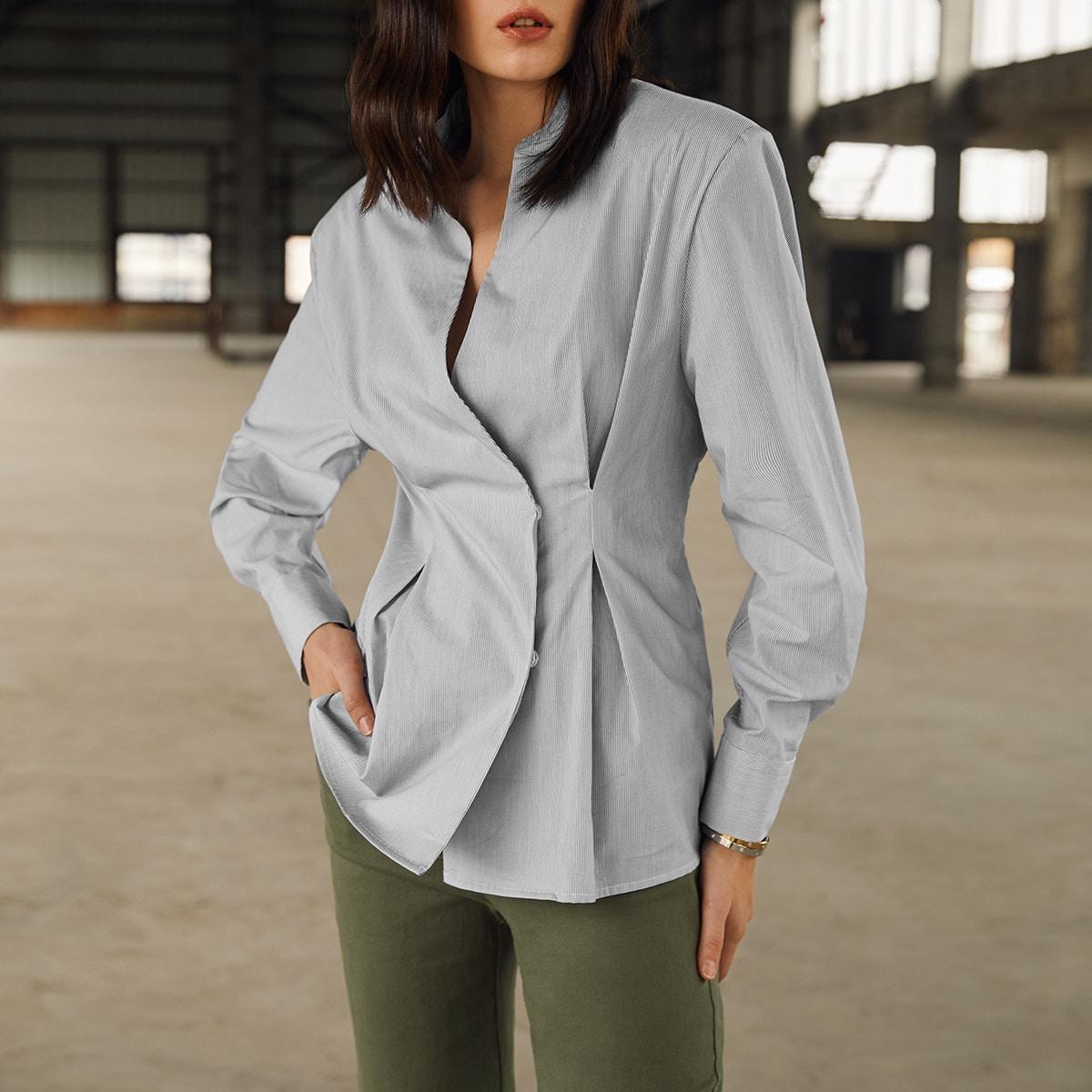 Однотонная блузка c плиссированным краем