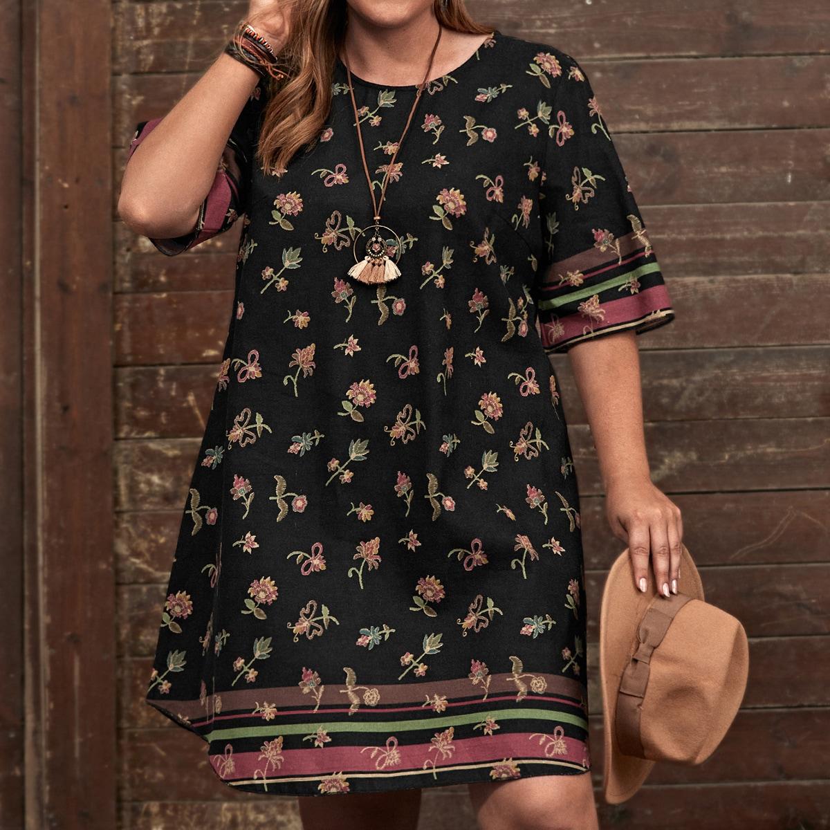 Платье размера плюс с цветочным принтом и полосками