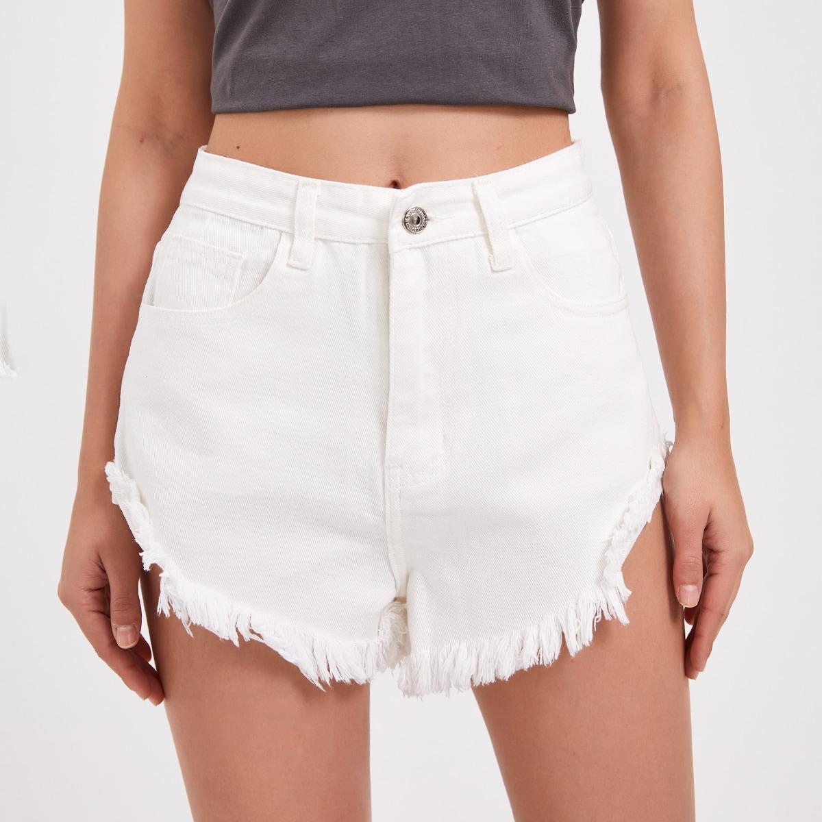 Solid Raw Hem Denim Shorts