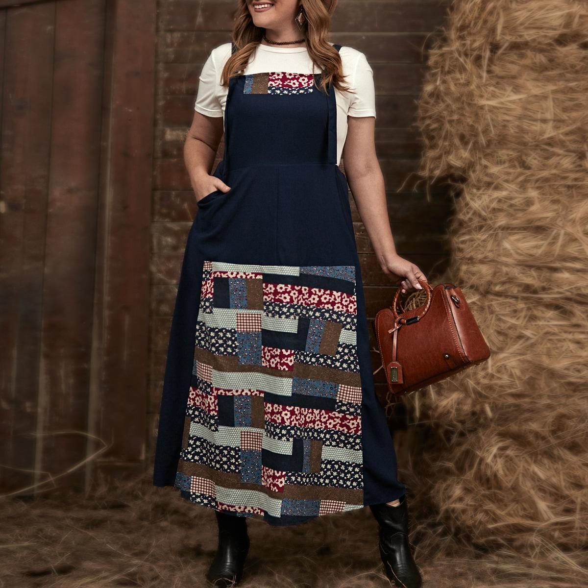 Контрастное платье размера плюс с цветочным принтом