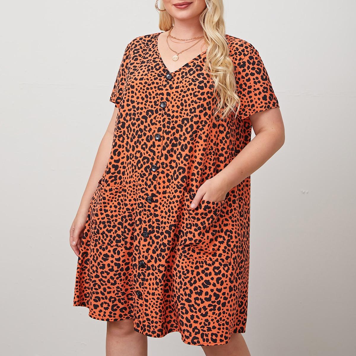 Платье размера плюс с леопардовым принтом и карманом