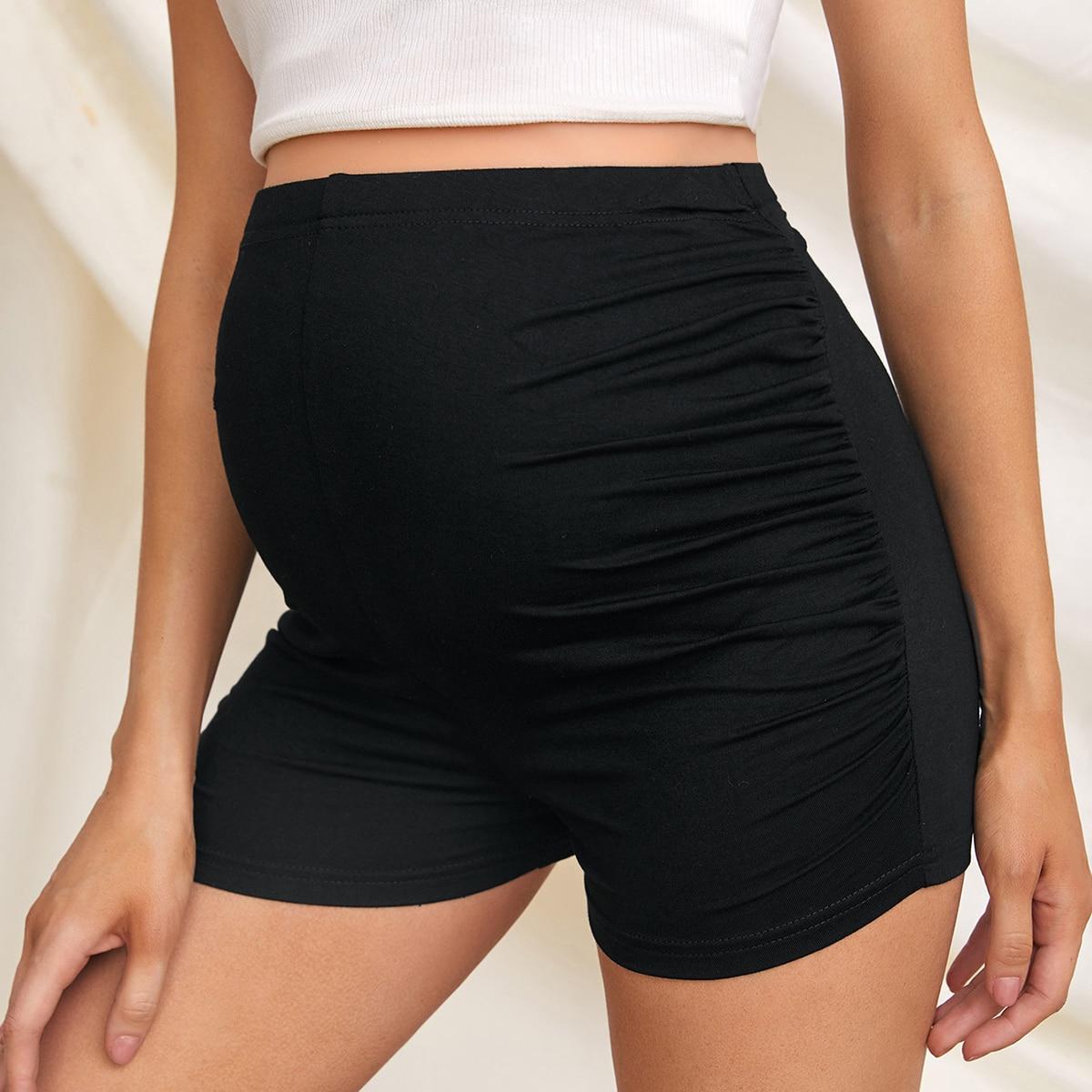 Байкерские шорты для беременных со складками