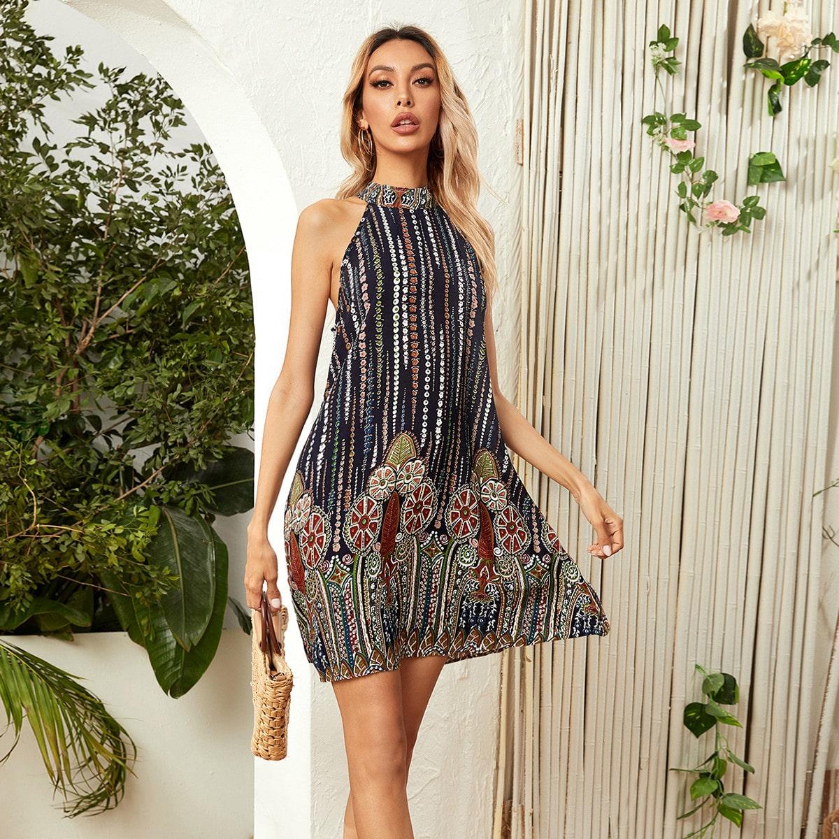 Платье с геометрическим принтом и узлом сзади