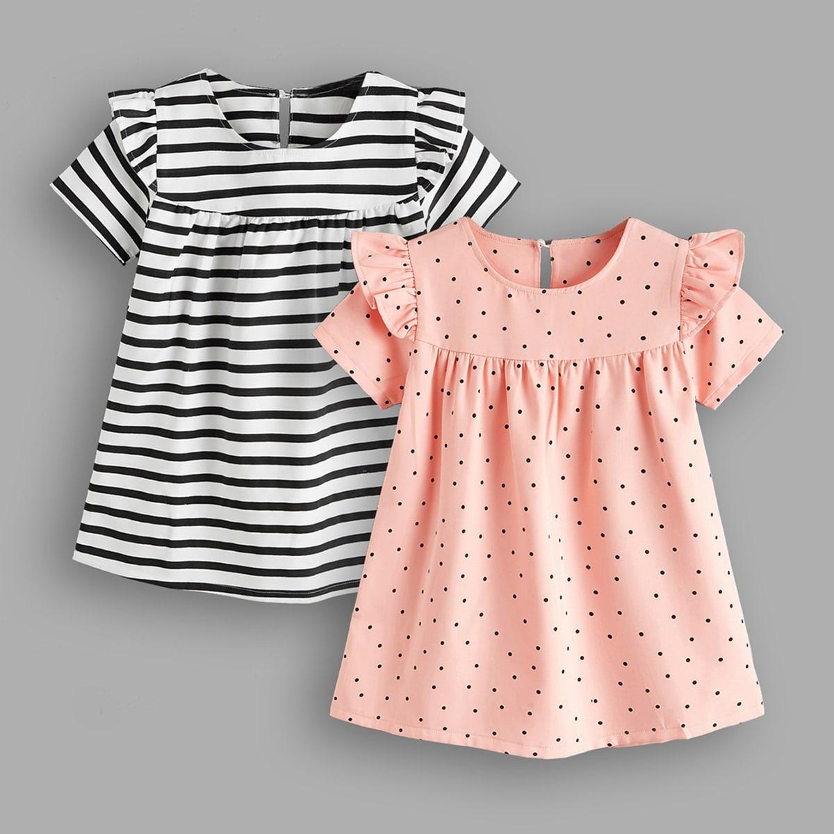 Toddler Girls 2pcs Striped & Polka Dot Ruffle Trim Dress
