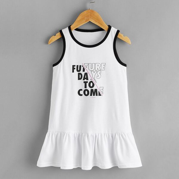 Toddler Girls Slogan Graphic Ruffle Hem Tank Dress, White