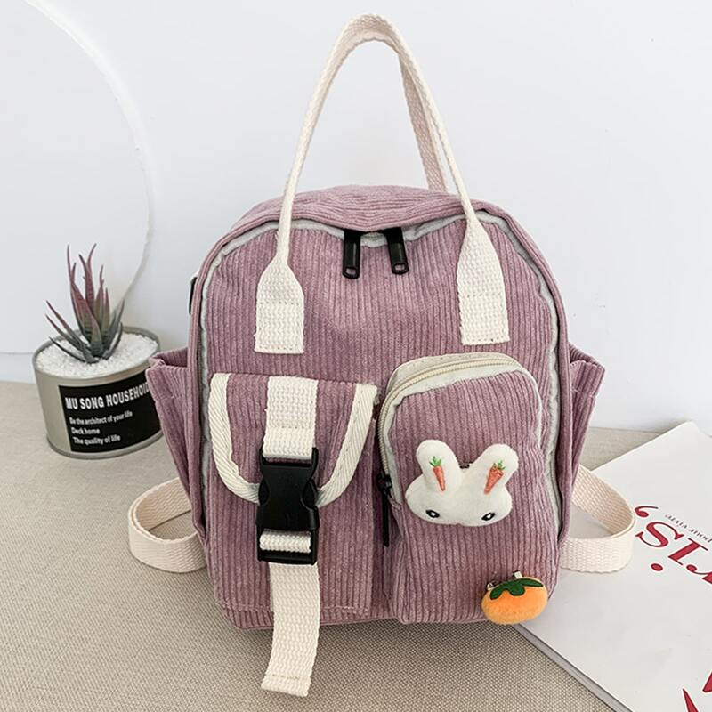 Double Pocket Front Corduroy Backpack, Pink