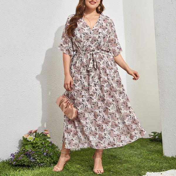 Plus Allover Plants Print Surplice Belted Dress, Multicolor