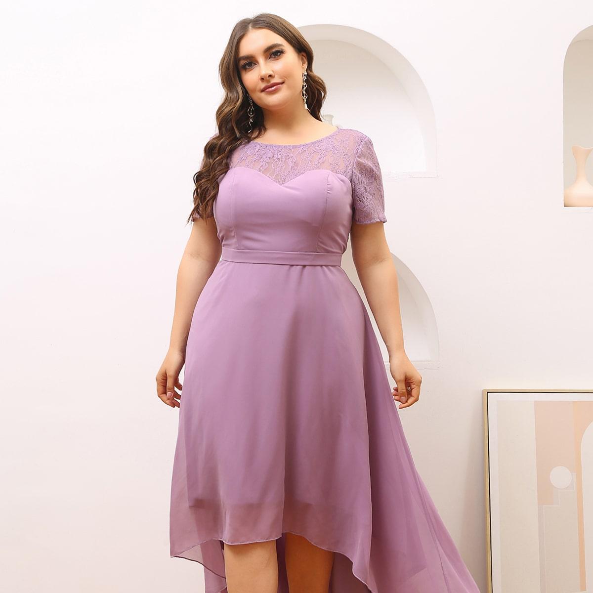 Шифоновое платье размера плюс с кружевной отделкой