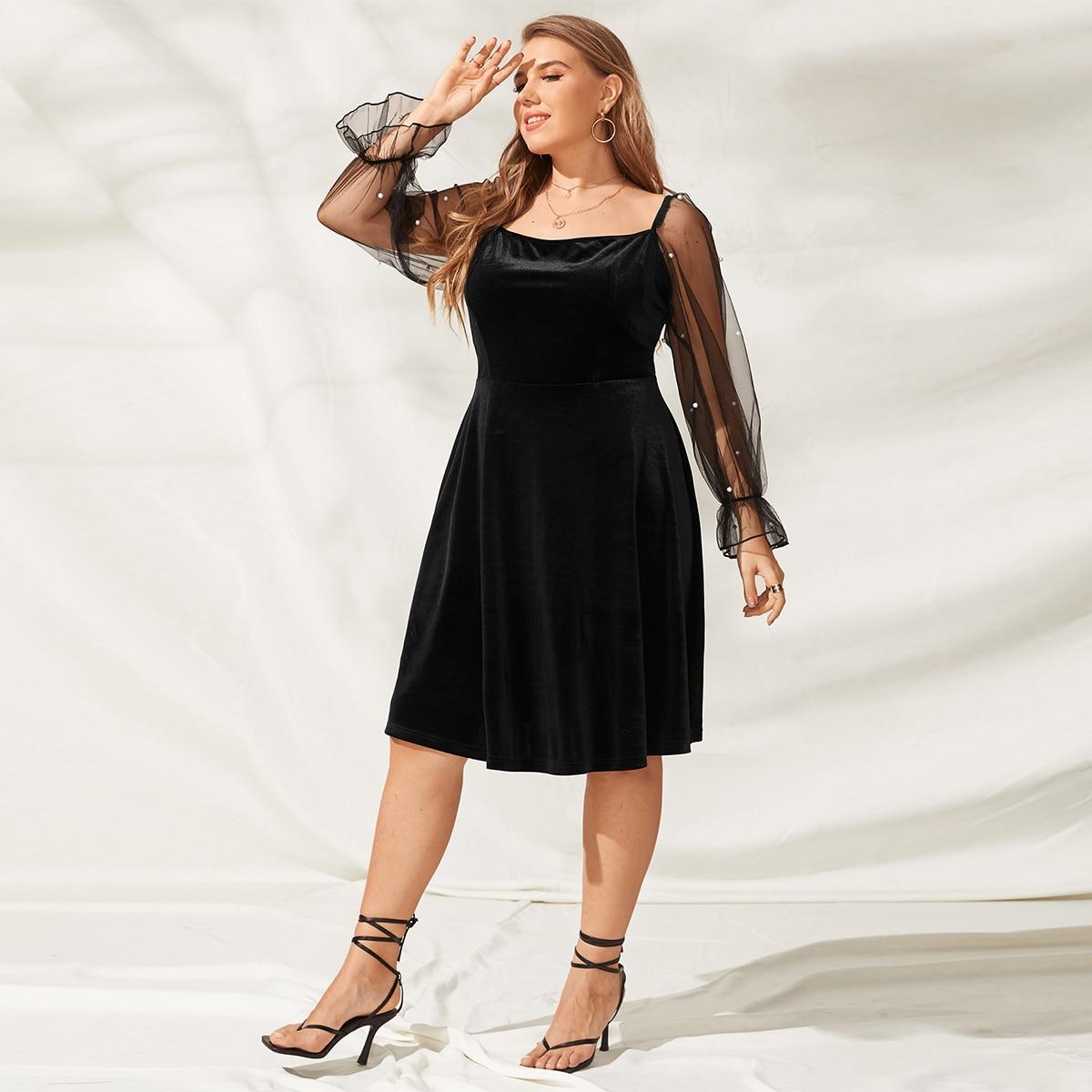 Бархатное платье размера плюс с сетчатой отделкой