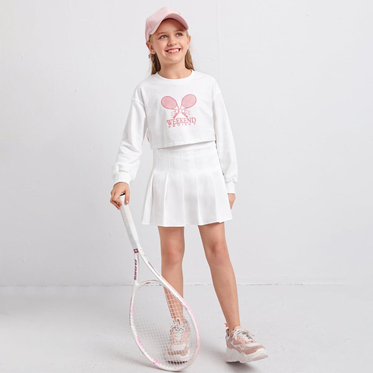 Conjunto pullover con estampado de raqueta de tenis con falda fruncido