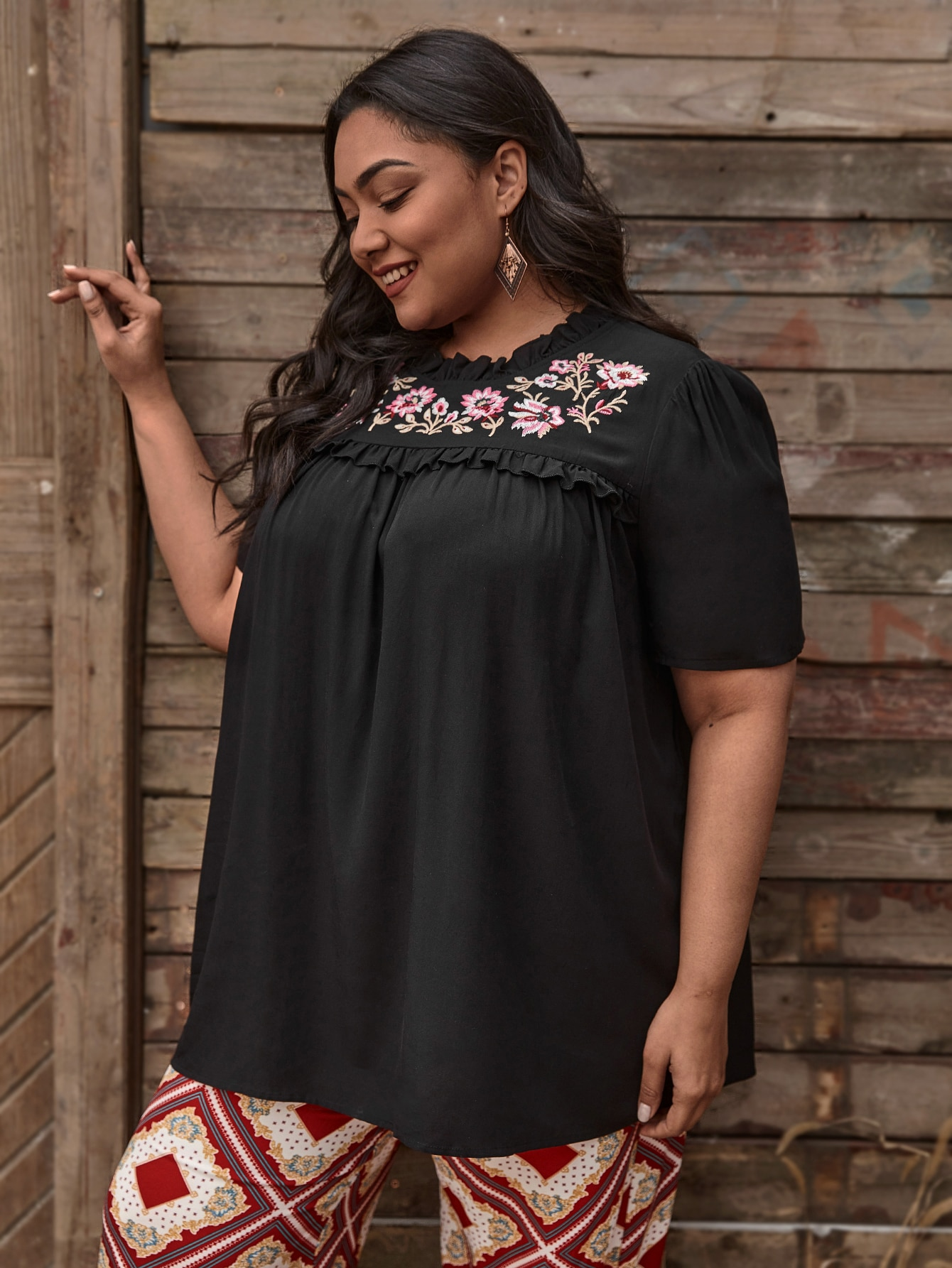 Plus Floral Embroidery Frill Trim Blouse