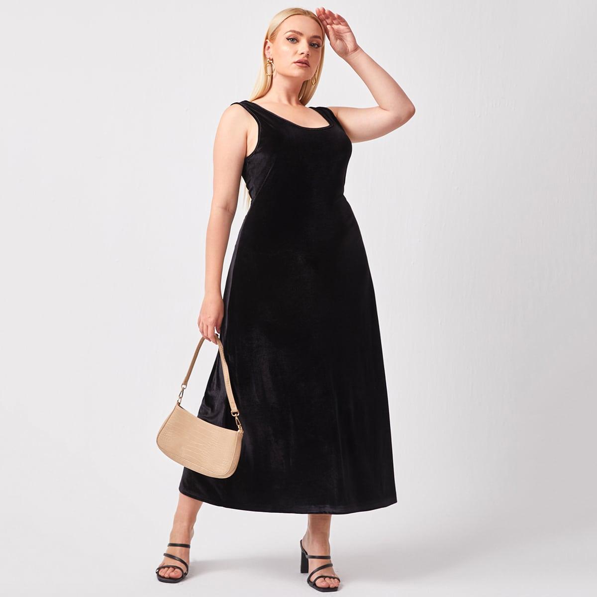 Бархатное платье-майка размера плюс