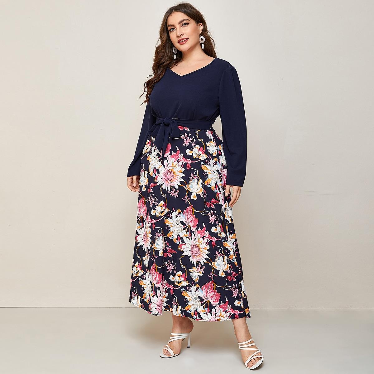 с поясом Цветочный Элегантный Платья размер плюс