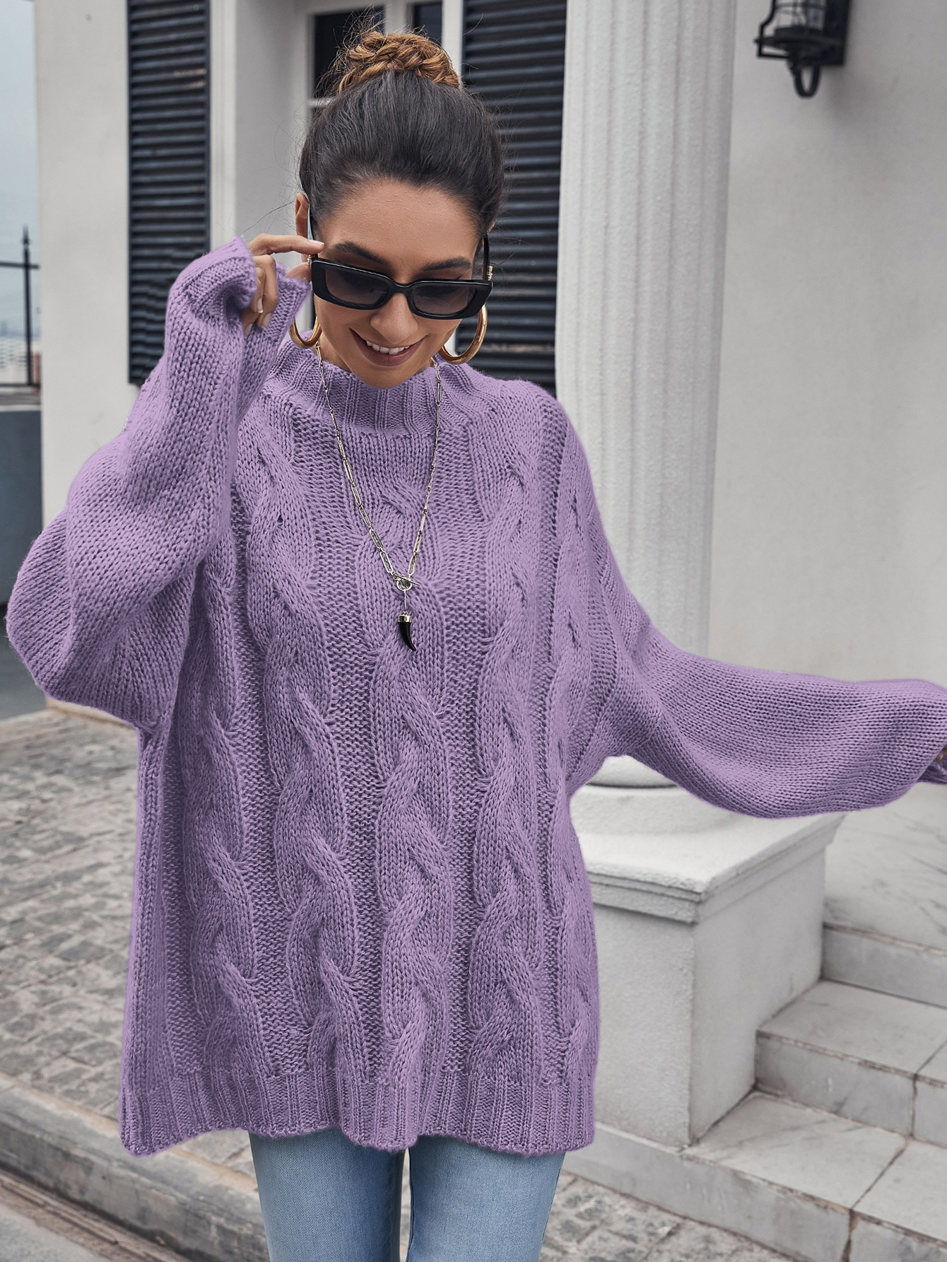 Mock Neck Drop Shoulder Cable Knit Oversized Sweater thumbnail