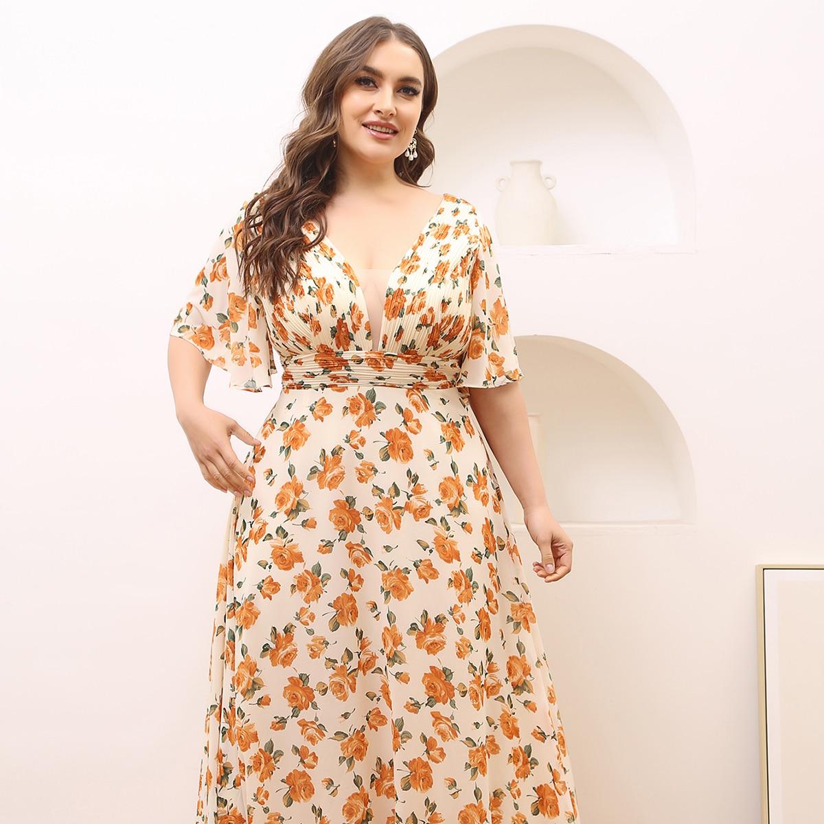 Сетчатое платье размера плюс с цветочным принтом