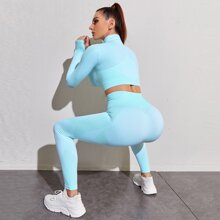 Seamless Crop Zip Up Sports Jacket With Wide Band Waist Leggings