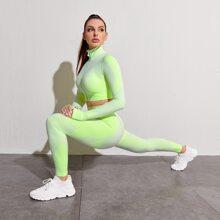 Textured Zip Up Crop Jacket & Leggings Sports Set