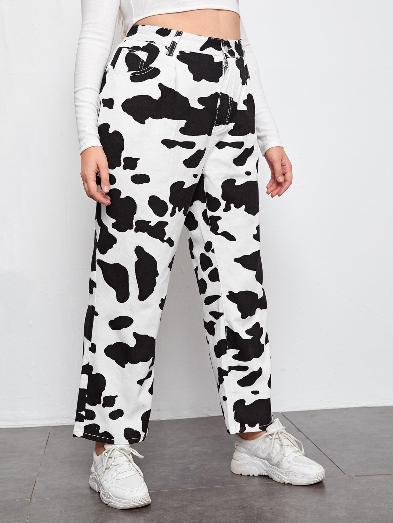 Plus High Waist Cow Print Wide Leg Jeans thumbnail