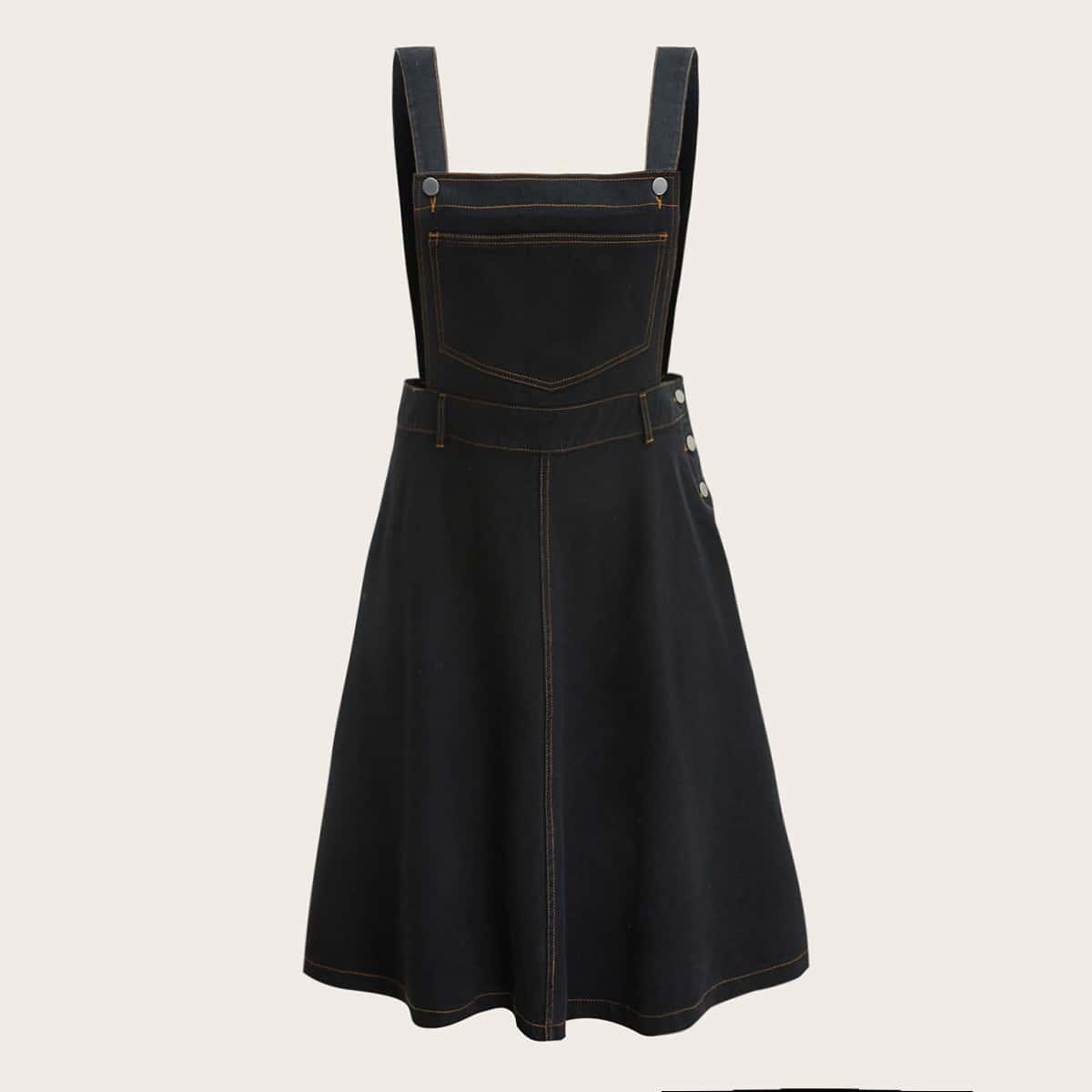 Джинсовое платье-сарафан размера плюс с пуговицами
