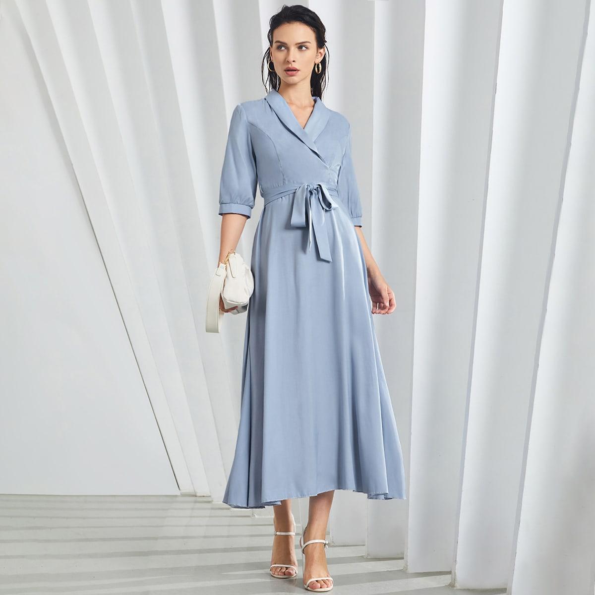 Shawl Collar Belted Shirt Dress