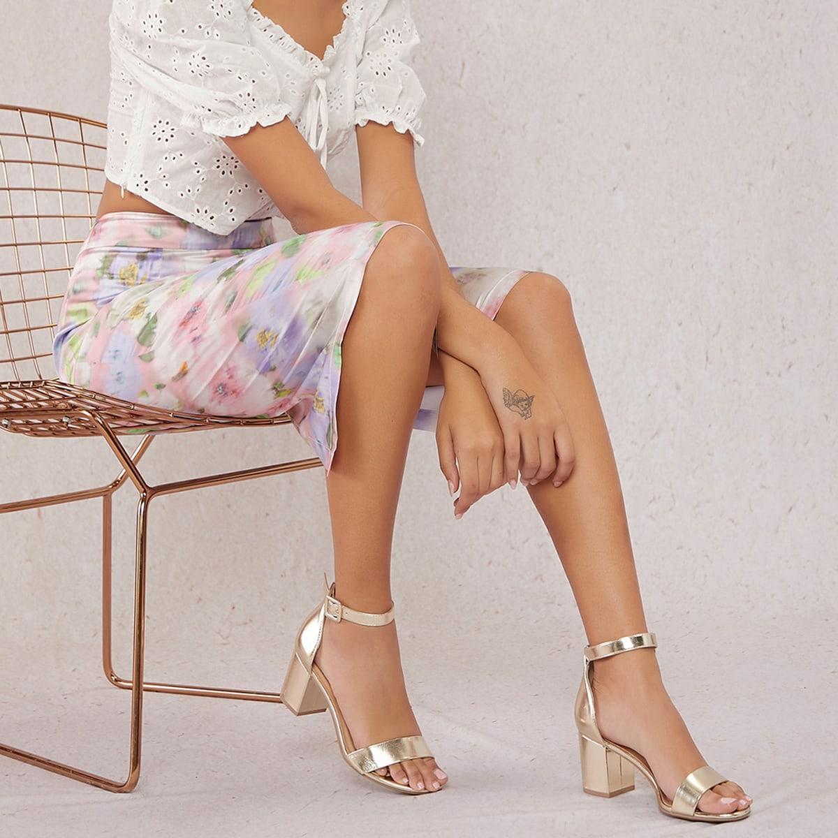 Туфли на высоких каблуках металлическогоцвета от SHEIN