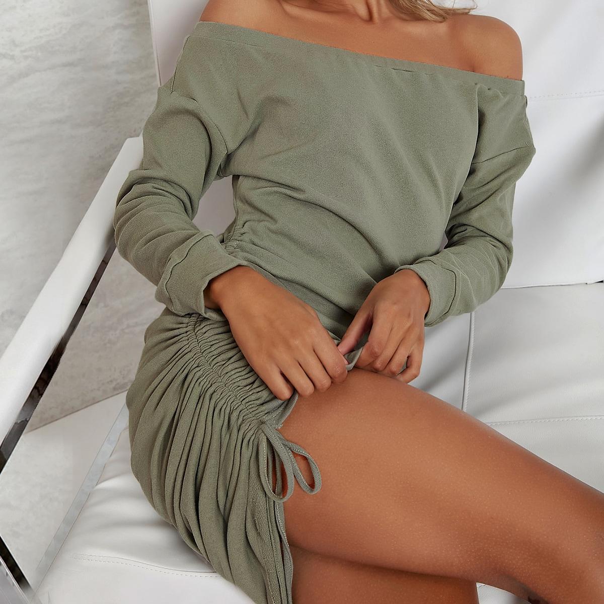 SHEIN / Ruched Drawstring Off-the-Shoulder Mini Dress