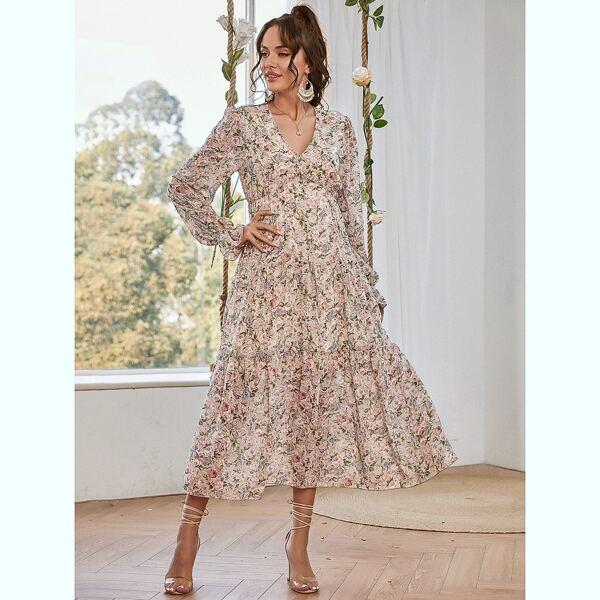 Floral V Neck Ruffle Hem Longline Dress, Multicolor