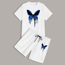 Guys Butterfly And Letter Graphic Tee With Drawstring Waist Shorts