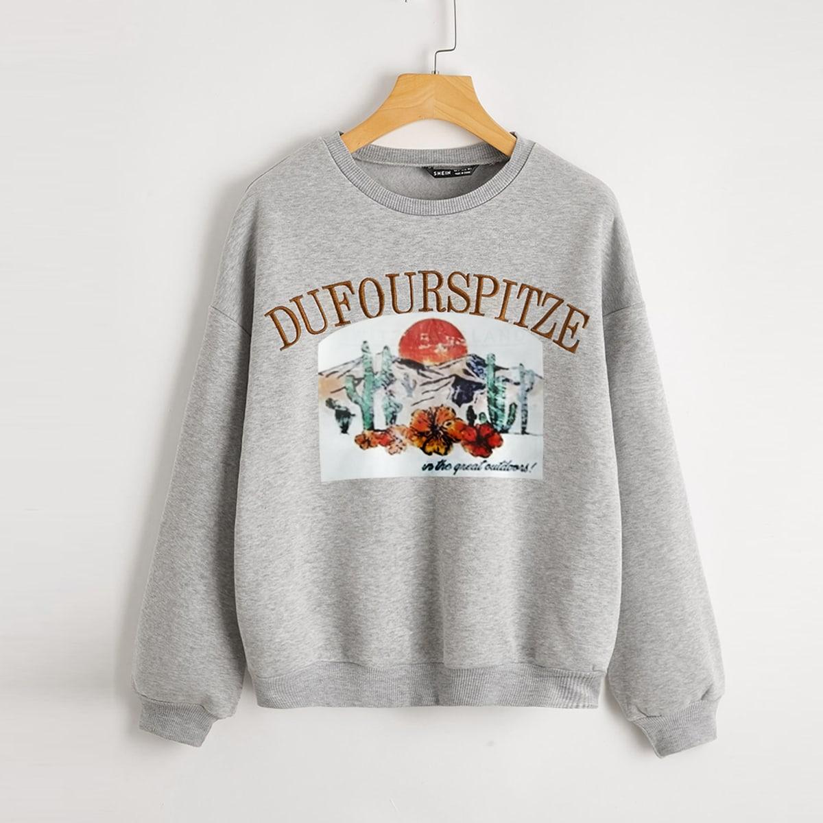 Пуловер с текстовой вышивкой