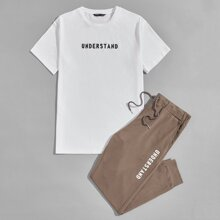 Guys Letter Graphic Top & Joggers Set