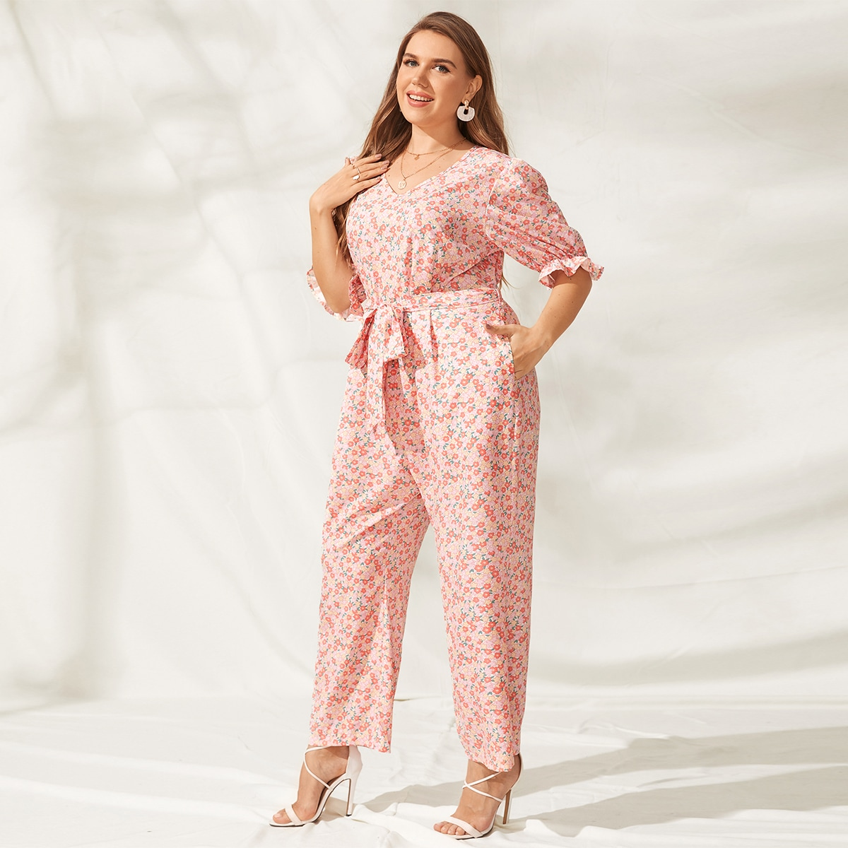 Plus Ruffle Cuff Ditsy Floral Belted Jumpsuit