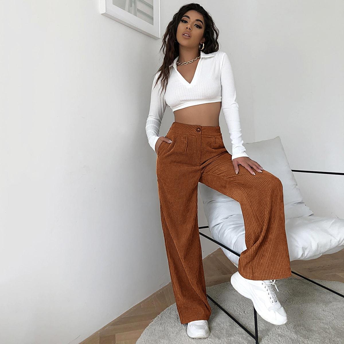 Вельветовые широкие брюки с высокой талией