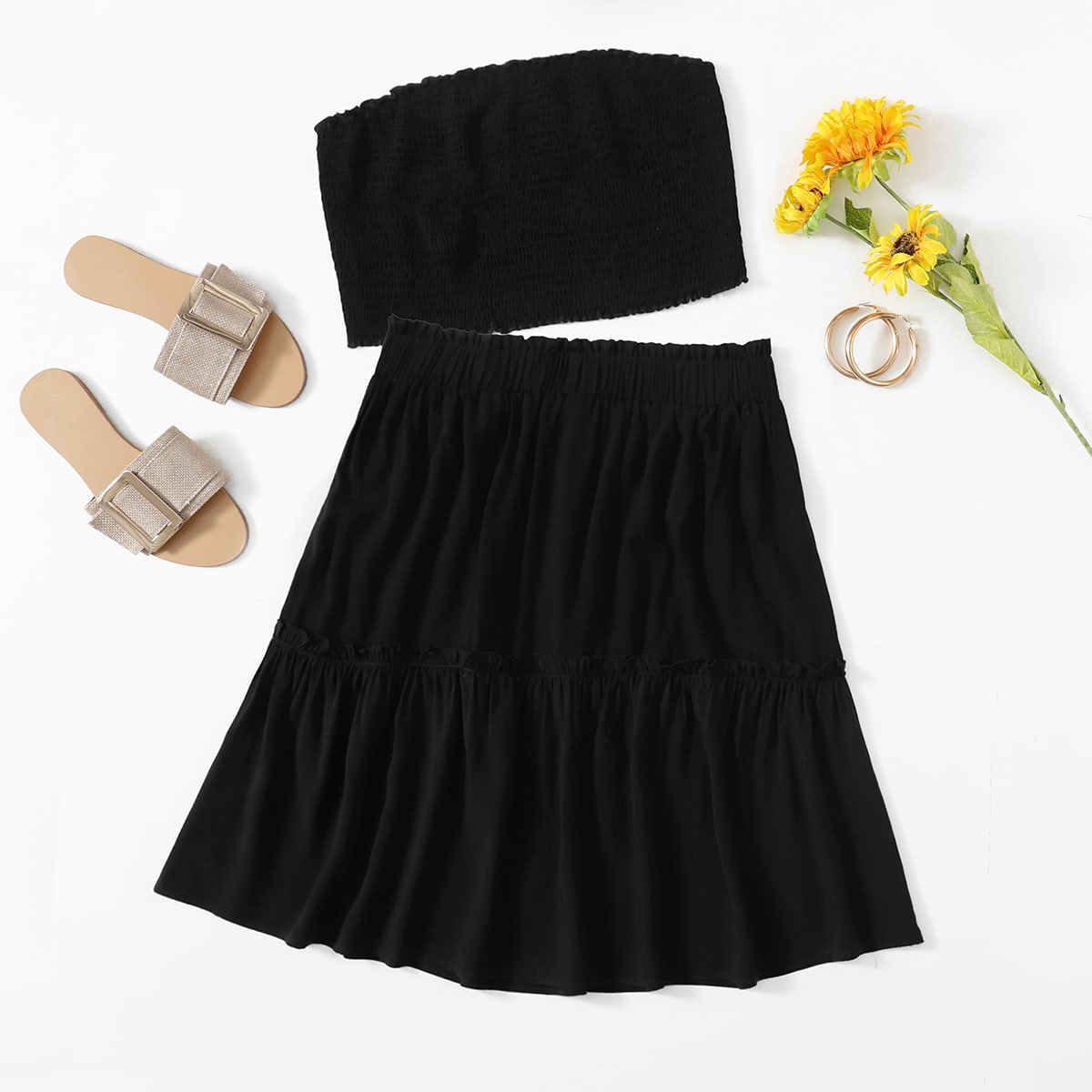 Plus Shirred Bandeau With Ruffle Hem Skirt, SHEIN  - buy with discount