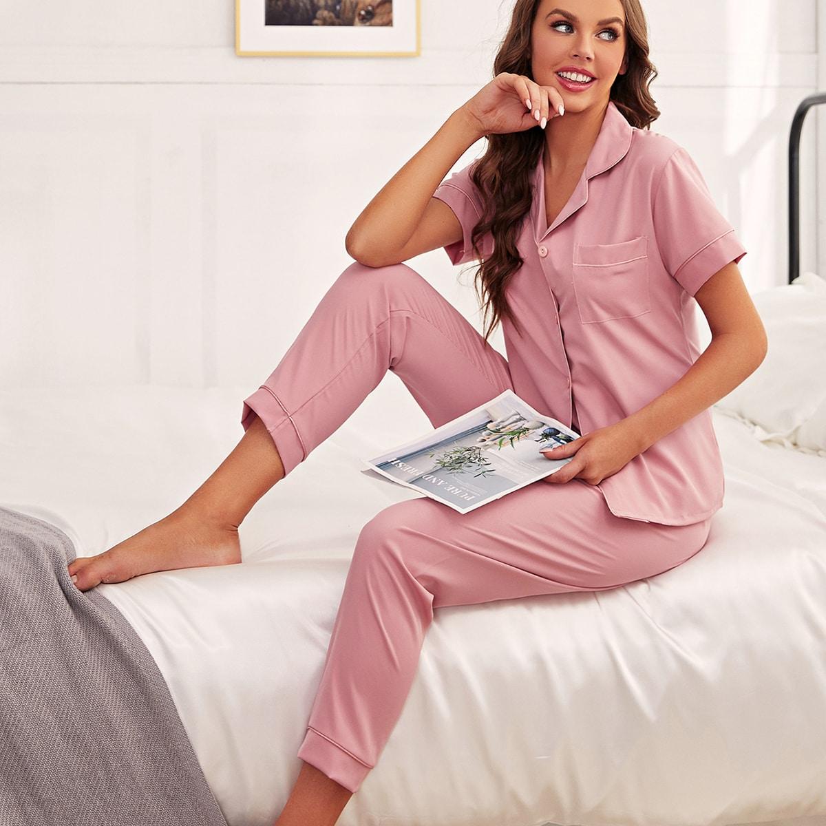 с карманами Одноцветный Повседневный Комплект пижамы