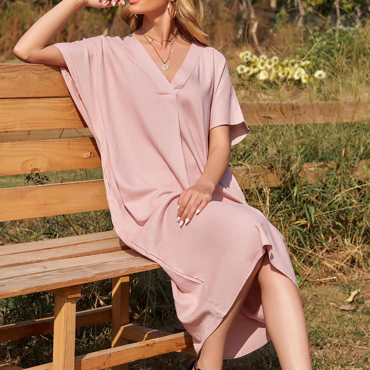 с карманами Одноцветный Повседневный Платье