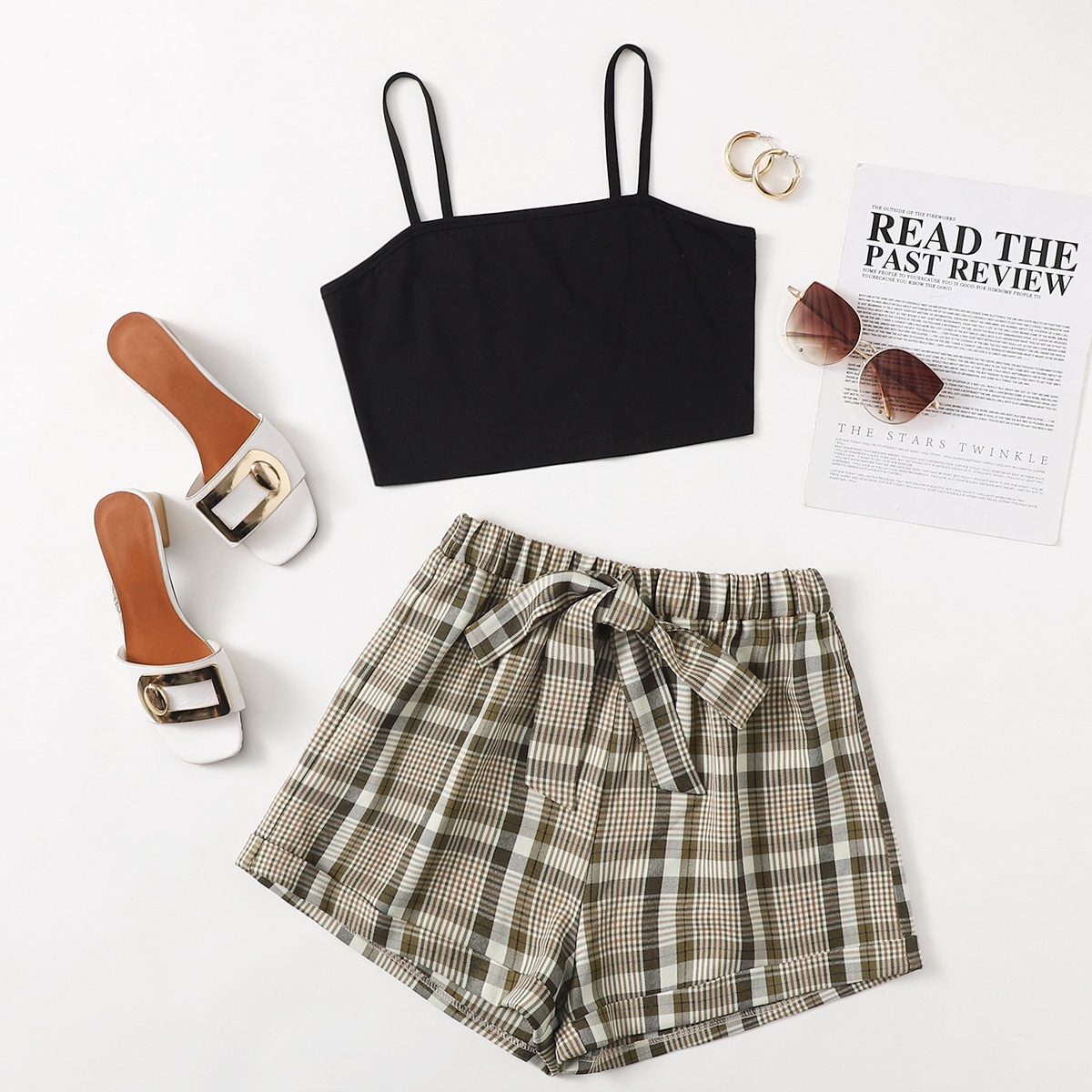 SHEIN / Solid Cami Top & Plaid Knot Front Shorts