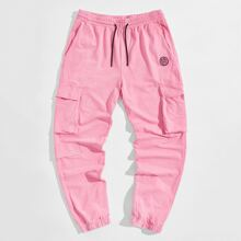 Guys Patched Detail Pocket Side Sweatpants