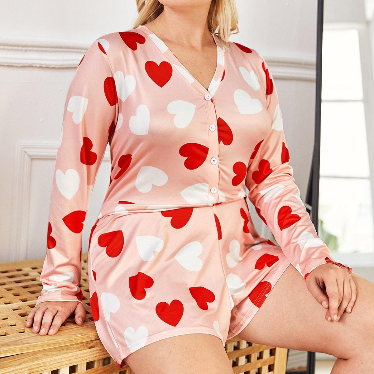 Пижама-комбинезон размера плюс с принтом сердечка