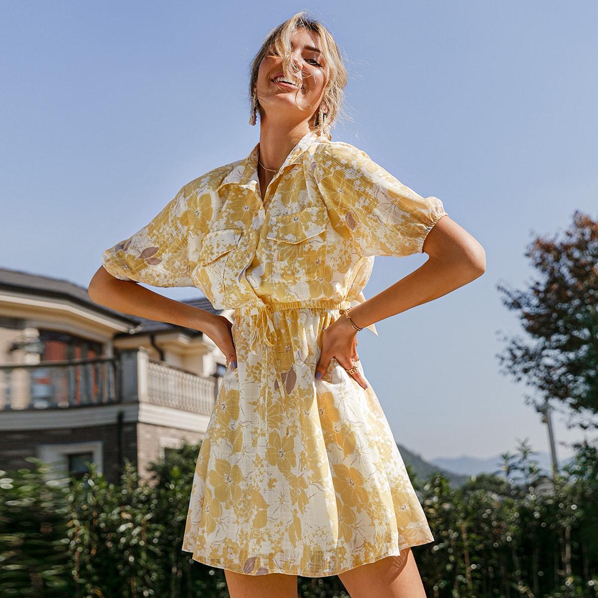 Платье с цветочным принтом и карманом