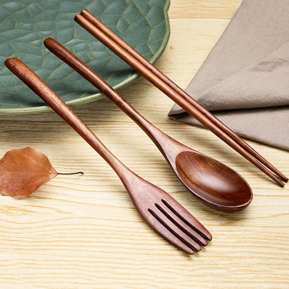1 Stück Holzlöffel & 1 Paar Essstäbchen & 1 Stück Gabel