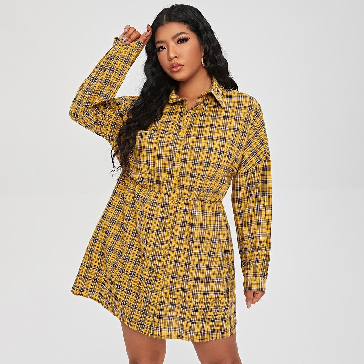 Платье-рубашка размера плюс в клетку