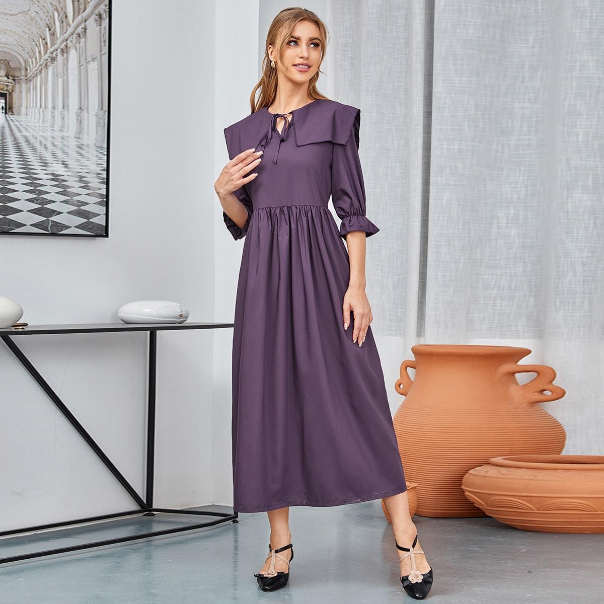 Платье с воланами на рукавах SheIn swdress01201224982